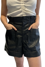 Load image into Gallery viewer, Black Pu high waisted shorts