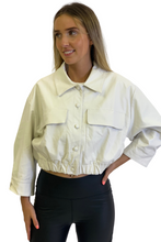 Load image into Gallery viewer, White oversized pu cropped jacket