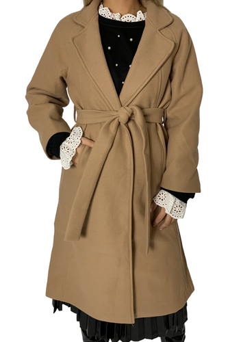 DOUBLE BREAST OVERLAP BELTED OVERCOAT