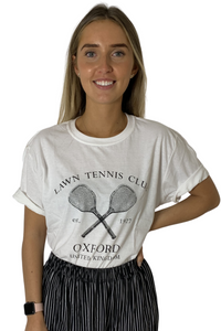 White Tennis Club Print Oversized T-shirt