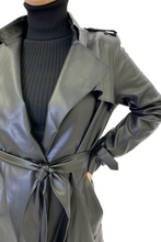 Load image into Gallery viewer, Faux leather trench coat