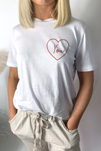 Load image into Gallery viewer, White love heart t-shirt