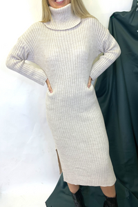 Beige high neck jumper dress