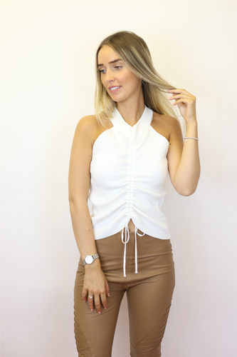 White ruched halter neck top