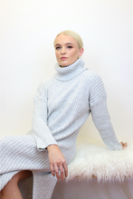 Load image into Gallery viewer, Silver grey roll neck jumper dress