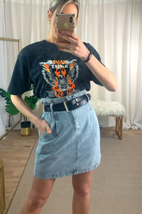 High waisted Denim skirt with black belt