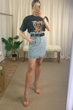 Load image into Gallery viewer, High waisted Denim skirt with black belt