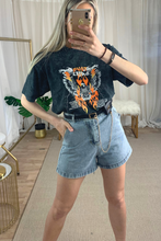Load image into Gallery viewer, Denim high waisted shorts with belt