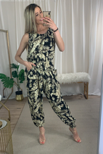 Load image into Gallery viewer, PLUS SIZE Floral print black jumpsuit