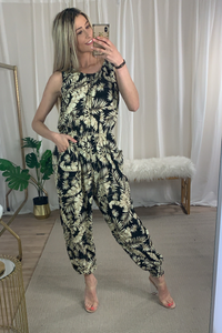 PLUS SIZE Floral print black jumpsuit