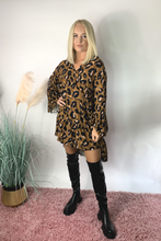 Load image into Gallery viewer, Camel leopard smock dress