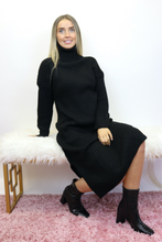 Load image into Gallery viewer, Black high roll neck ribbed jumper dress