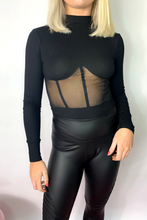 Load image into Gallery viewer, Black mesh bodysuit