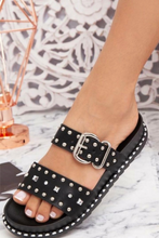 Load image into Gallery viewer, Black studded sandal