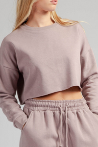 Oversized Fleeced mauve crop sweatshirt