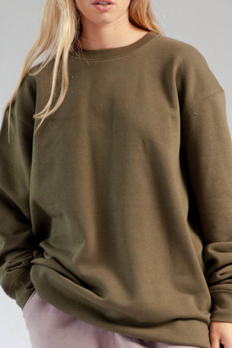 Olive fleeced oversized sweatshirt
