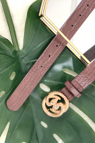 Brown double snake buckle belt