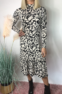 Floral black and white midi dress