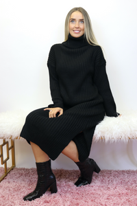 Black high roll neck ribbed jumper dress