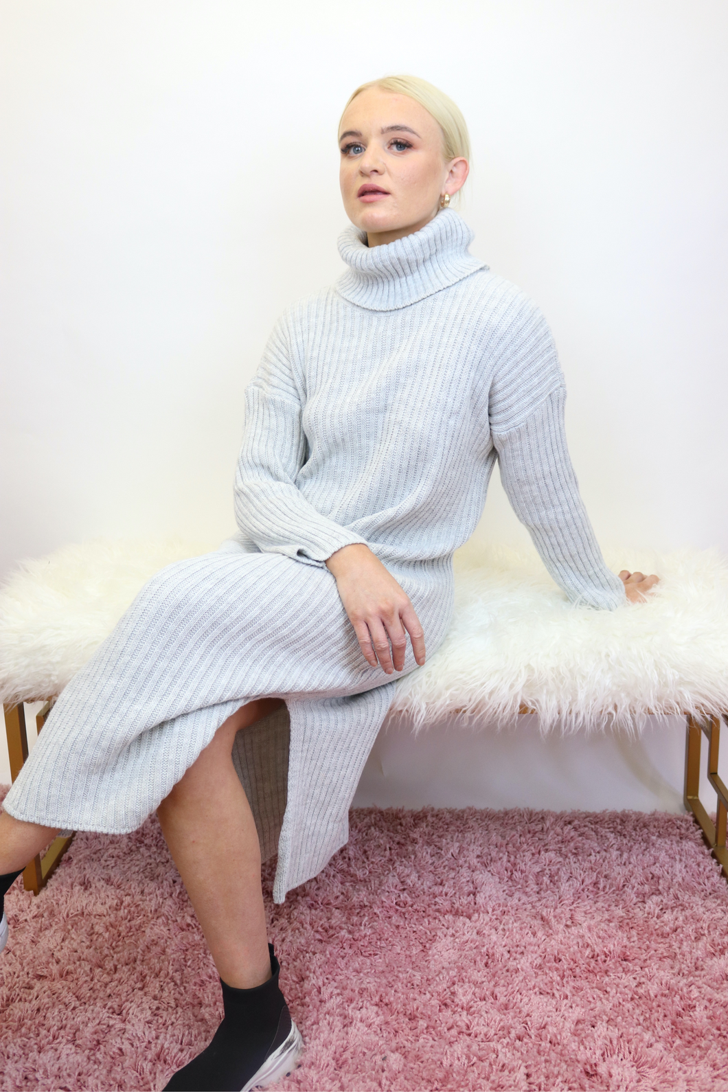 Silver grey roll neck jumper dress