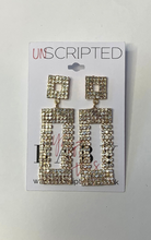 Load image into Gallery viewer, Diamante rectangle statement earrings