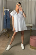 Load image into Gallery viewer, White tiered smock dress