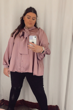Load image into Gallery viewer, Purple satin blouse