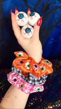 Load image into Gallery viewer, Halloween Spooky Eyeball Embroidered Scrunchie