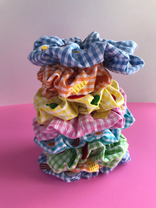 English Breakfast Bacon and Egg Gingham Embroidered Scrunchie