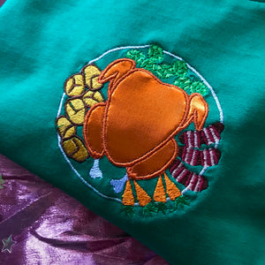 Roast Dinner Mirrored Christmas Dinner Plate Embroidered Tshirt