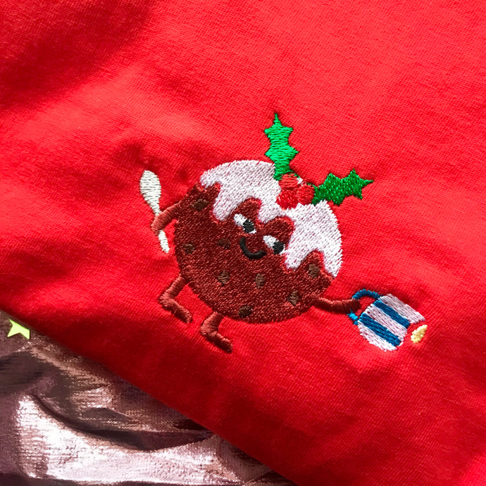 Christmas Pudding Embroidered Tshirt