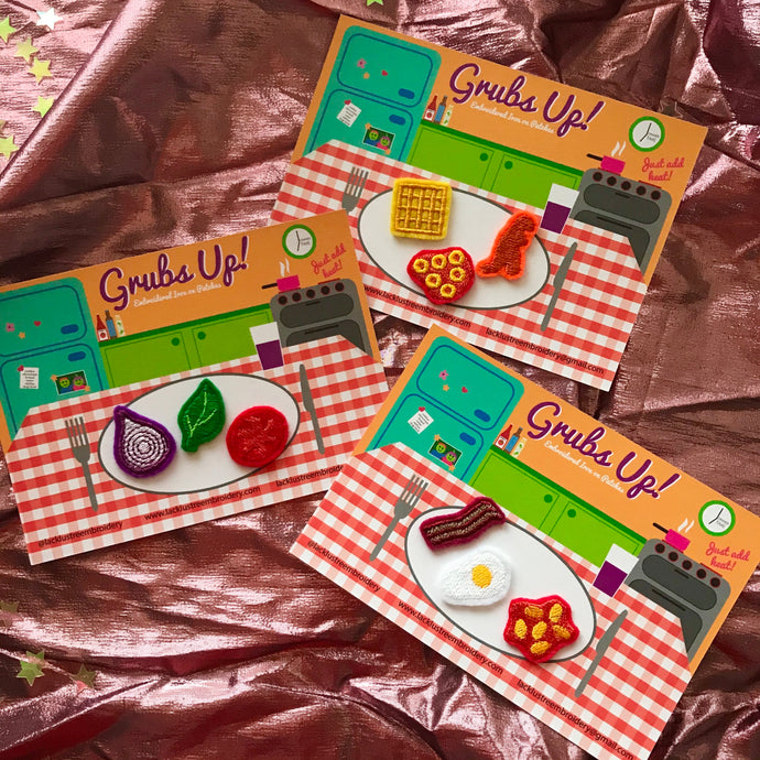Grubs Up Embroidered Iron on Food Shaped Patches
