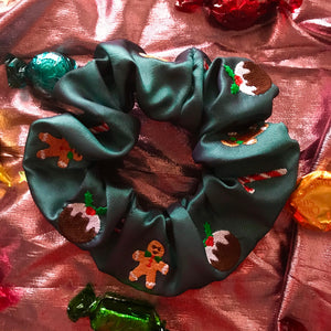 Christmas Treats Embroidered Scrunchie