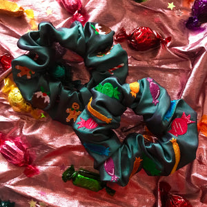 Christmas Quality Street Sweets Embroidered Scrunchie