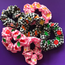 Load image into Gallery viewer, Turkey Dinosaur and Potato Waffle Gingham Embroidered Scrunchie