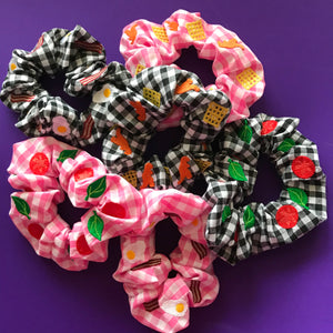 Turkey Dinosaur and Potato Waffle Gingham Embroidered Scrunchie