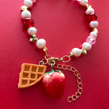 Load image into Gallery viewer, Strawberry Waffle Charm Bracelet