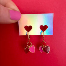 Load image into Gallery viewer, Galentine's Heart Charm Earrings