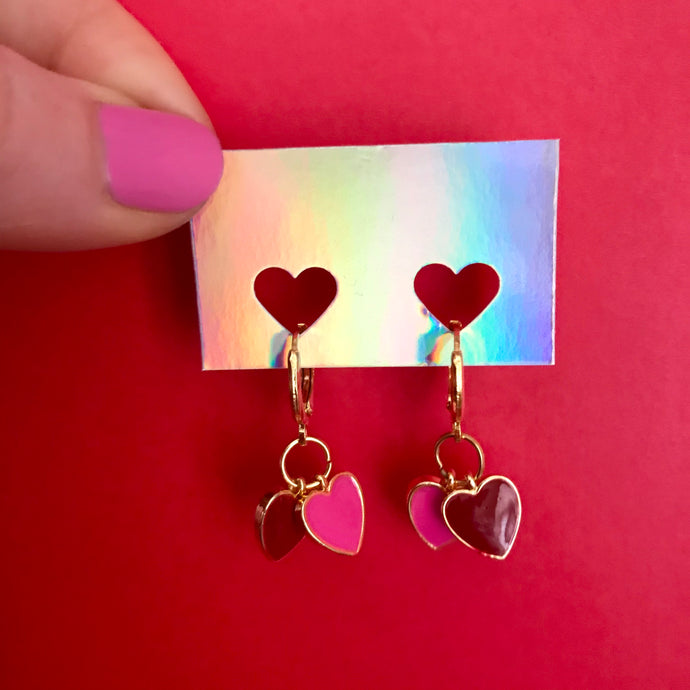 Galentine's Heart Charm Earrings