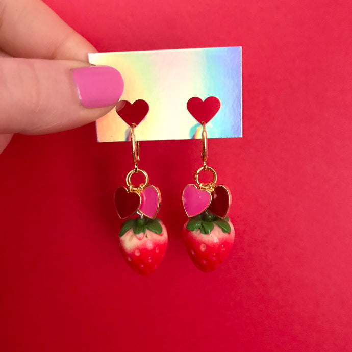 Galentine's Strawberry Charm Earrings