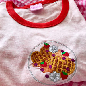 Strawberry Waffle Embroidered Ringer Tshirt
