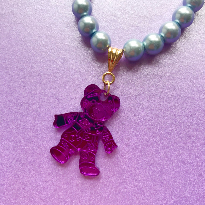 Doodle Bear Mirrored Charm Necklace