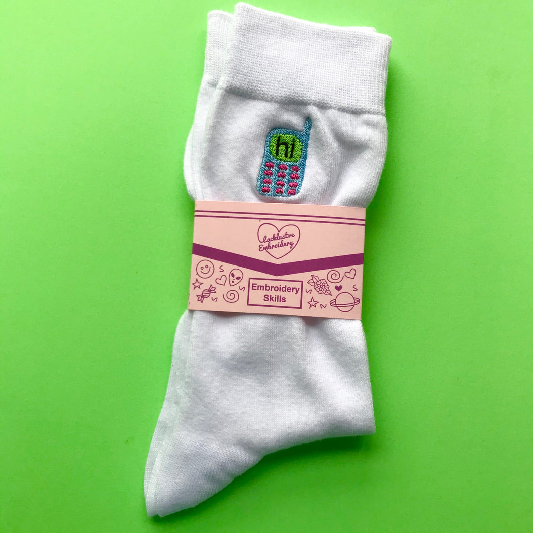 90's Mobile Phone Embroidered Socks