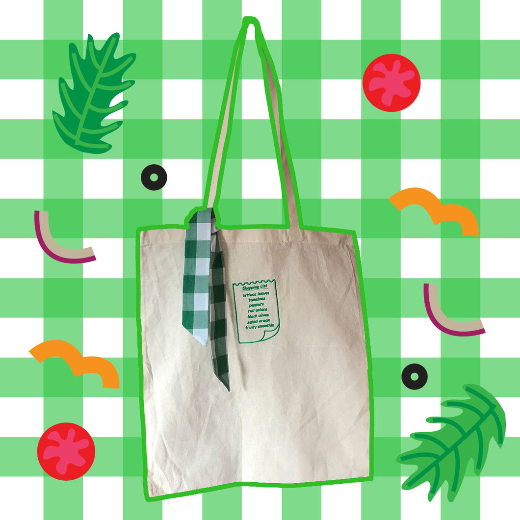 Salad Shopping List Embroidered Tote Bag