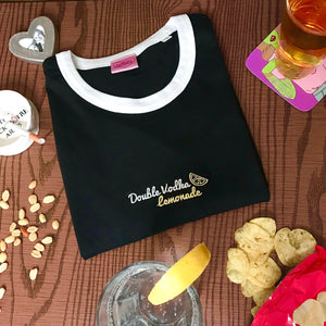 Double Vodka Lemonade Embroidered Ringer Tshirt