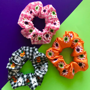 Halloween Spooky Eyeball Embroidered Scrunchie
