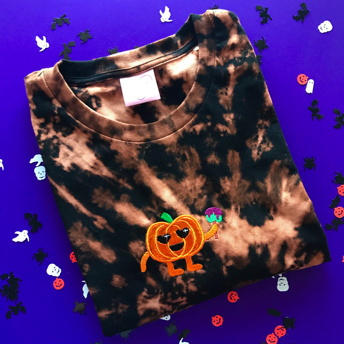 Mirrored Party Pumpkin Embroidered Halloween Tshirt