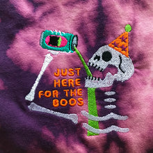 Load image into Gallery viewer, Just Here for the Boos Skeleton Embroidered Halloween Tshirt