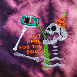 Just Here for the Boos Skeleton Embroidered Halloween Tshirt