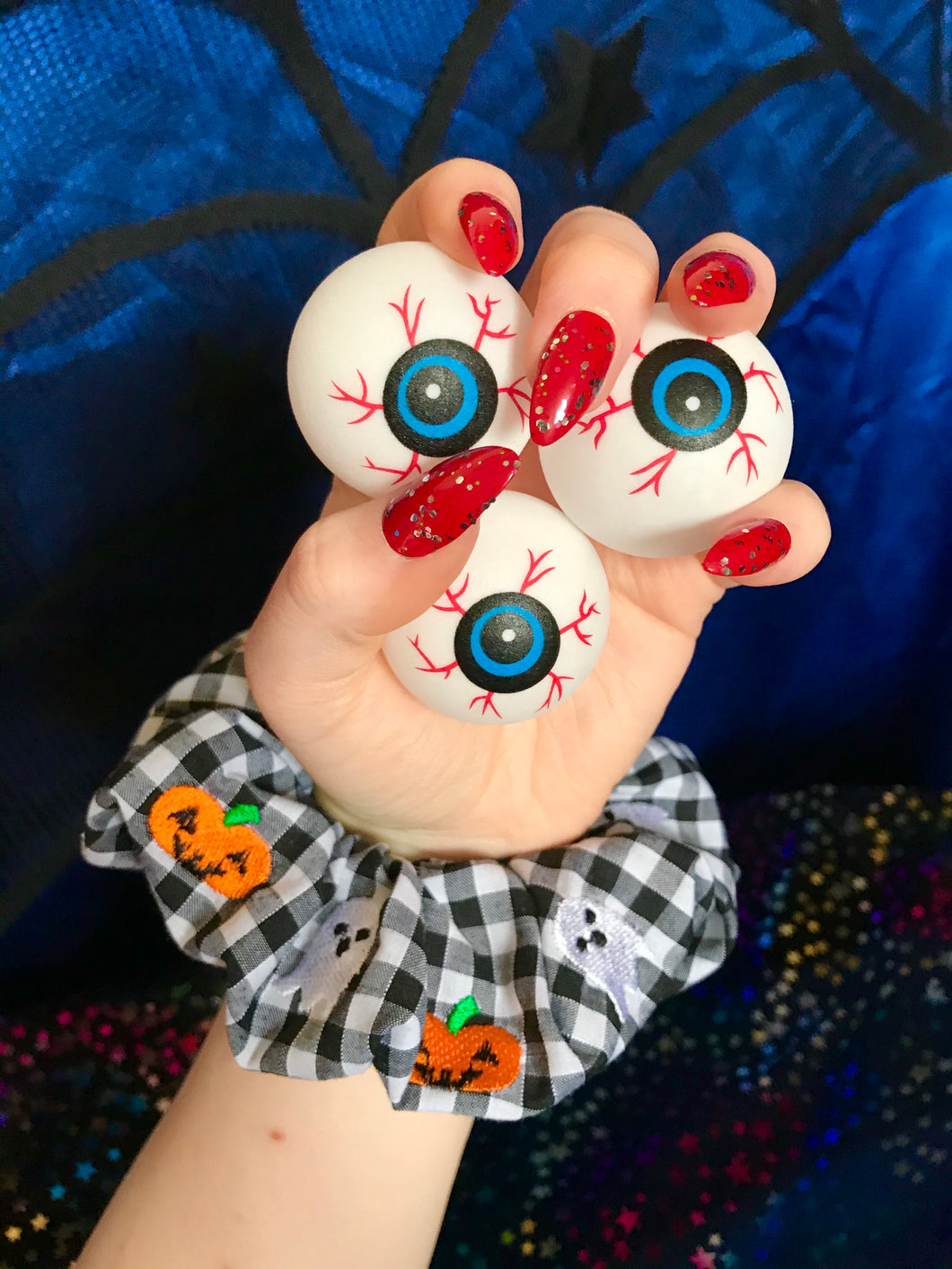 Pumpkin and Ghost Embroidered Scrunchie